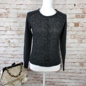 Absolutely Creative S Black Sequin Front Sweater